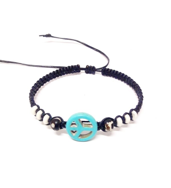 Peace Sign Hemp Bracelet - Handmade Bracelet - Adjustable Cord Surfer Bracelet - Turquoise - CG12GQDKCW7