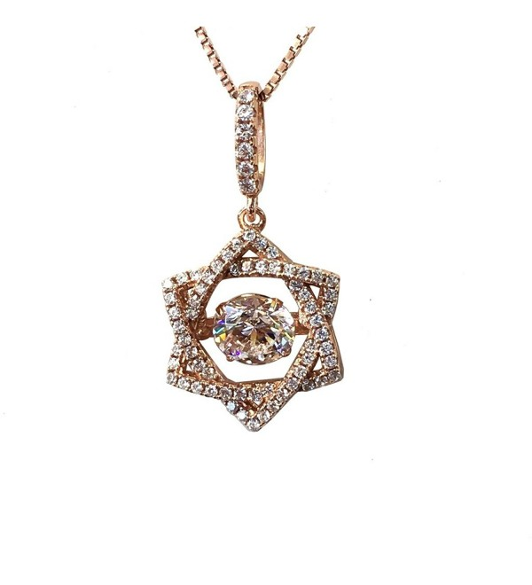 "NANA Star of David Dancing Stone S-Silver & Swarovski CZ with 0.8mm 22"" Adjustable Box Chain - C012O1H45A6"