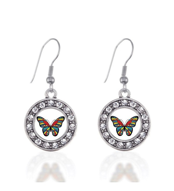 Autism Awareness Butterfly Circle Charm Earrings French Hook Clear Crystal Rhinestones - C6124BUK50L