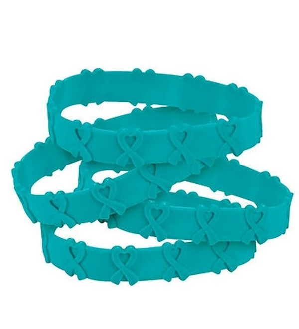 50 Teal Awareness Pop-Out Bracelets Ovarian cancer- cervical cancer- uterine cancer- Anxiety disorders - CP1261J33Z9