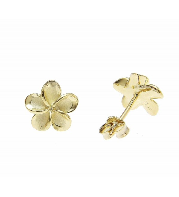 925 sterling silver yellow gold plated Hawaiian plumeria flower no cz stone post stud earrings 10mm - CS186EMC8ZW