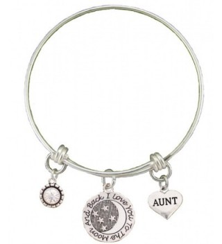 Aunt Love You To The Moon Silver Wire Adjustable Bracelet Heart Jewelry Gift - CG12BC1XWI9