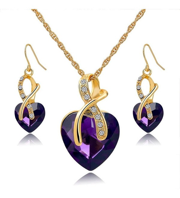 Jewelry Necklace Earrings Gift Hero Austrian - Purple - CJ1868CWZZ9