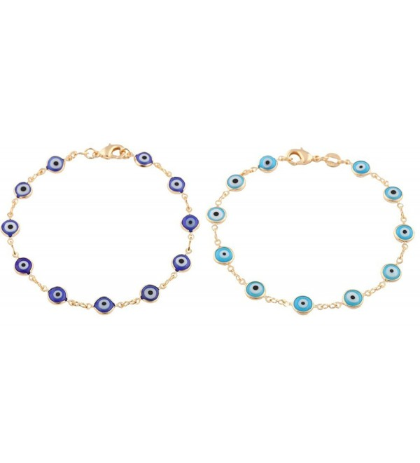 Gold Overlay with Navy Blue and Light Blue Mini Evil Eye Style 7.5 Inch Clasp Bracelet Set (T-326 + T-328) - C311JXWN6ZJ