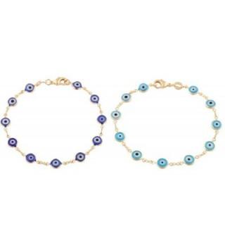 Gold Overlay with Navy Blue and Light Blue Mini Evil Eye Style 7.5 Inch Clasp Bracelet Set (T-326 + T-328) - C311JXWN6ZJ