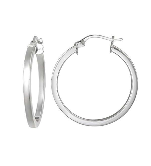 Hoops & Loops Sterling Silver 2mm High Polished Square Small Hoop Earrings - CV12CLAMI7F