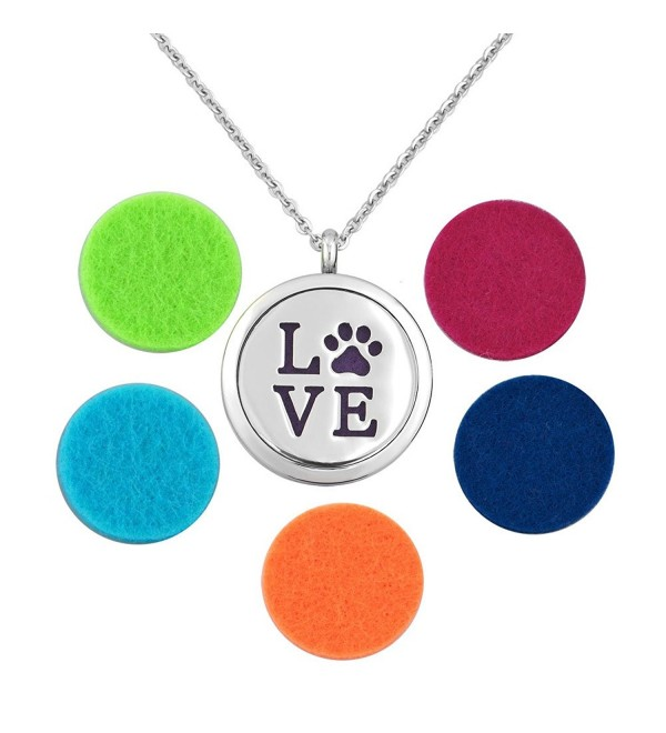 Q&Locket Love Dog Pawprint Stainless Steel Premium Aromatherapy Essential Oil Diffuser Locket Necklace - CB12MWX9II3