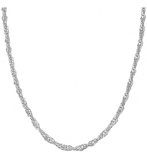 Sterling Silver 2.75mm Singapore Chain (14- 16- 18- 20- 22- 24- 30 or 36 inch) - CX1162UAW8X