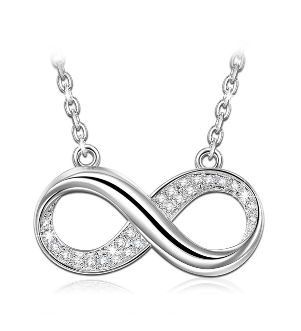 "ANGEL NINA Infinite Love"" 925 Sterling Silver 3A Zirconia Necklace Pendant Convey Infinity Love - CD18C5T8DWY"