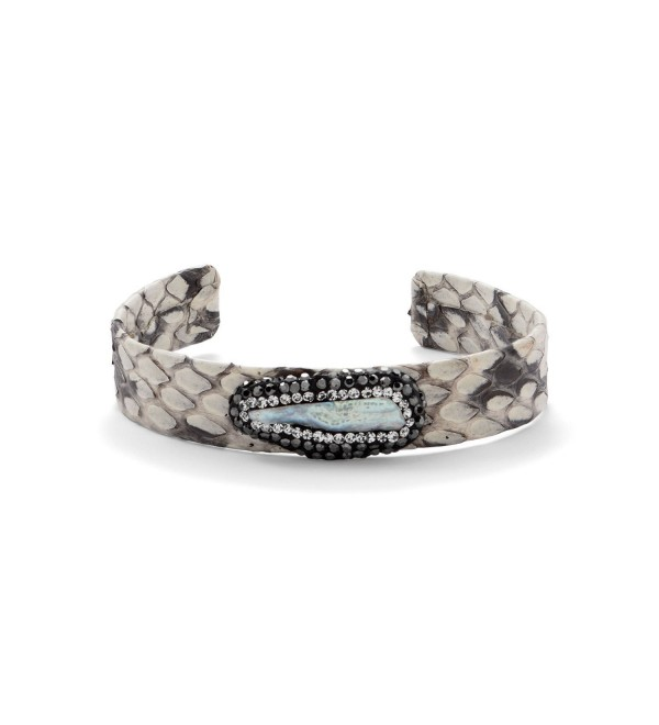 Snakeskin and Crystal Fashion Cuff Bracelet - CQ185X0KMIU