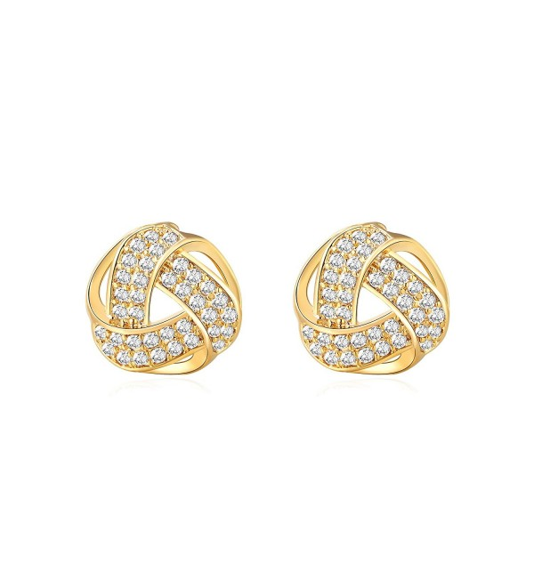 Twisted Love Knot with Brilliant Cubic Zirconia Stud Earrings- Triple-Knot Silhouette- Gifts for Girls and Women - C7189UIWI2U
