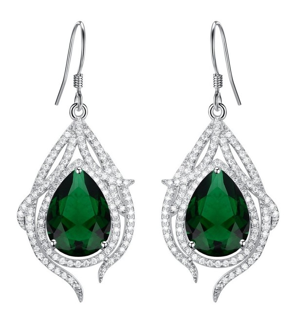 EleQueen 925 Sterling Silver Cubic Zirconia Teardrop Peacock Feather Bridal Hook Earrings - Emerald Color - CT1859HSWTZ