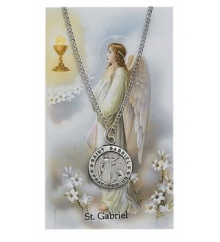 Round St. Gabriel the Archangel Medal with Prayer Card - CB11DP0J9EH