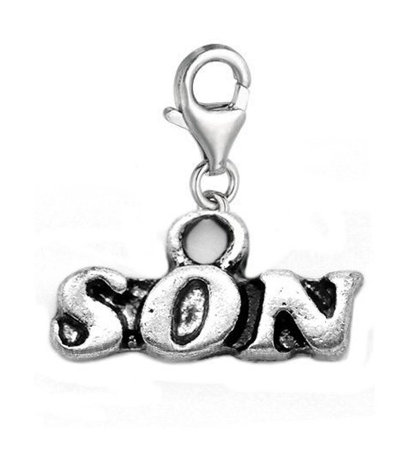 Son Clip On For Bracelet Charm Pendant for European Charm Jewelry w/ Lobster Clasp - C811F1PSGB1