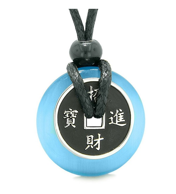 Amulet Lucky Coin Charm Donut Sky Blue Simulated Cats Eye Magic Spiritual Powers Adjustable Necklace - CY12FRTBKYP