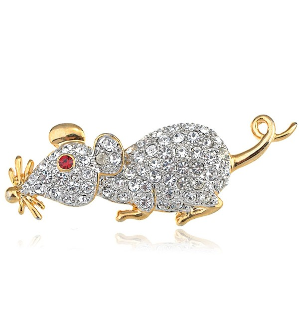 Alilang Cute Cartoon Mouse Rat Pet Rhinestone Crystal Animal Rodent Critter Pin Brooch - Silver With Red Eyes - CN113T2ENDN