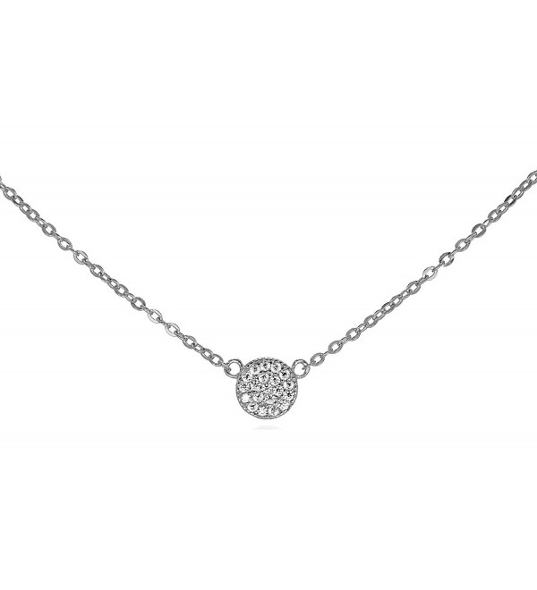 "Tiny .925 Sterling Silver CZ Pave Disk Necklace Adjustable Chain 16"" - 18"" GIFT BOX - C511QB1GZMB"