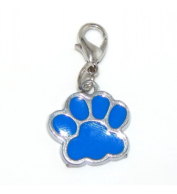 "Pro Jewelry Clip-on ""Dark Blue Enamel Paw"" Charm Dangling - C511LY9FYQ3"