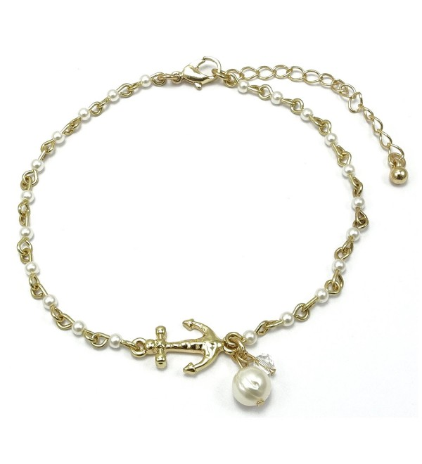 Anchor Charm and Freshwater Pearl Bead Link Anklet - Gold - Pearl Bead - C817YQZZA63