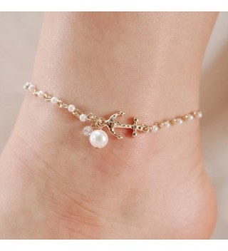 Anchor Charm Freshwater Pearl Anklet