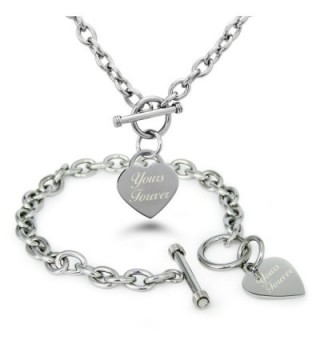 Stainless Steel Engraved Yours Forever Heart Charm Bracelet and Necklace - CM11VP5LQJZ