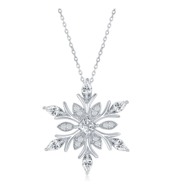"Sterling Silver CZ Snowflake Pendant with 18"" Chain - C011UYTEHS5"