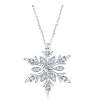"""Sterling Silver CZ Snowflake Pendant with 18"""" Chain - C011UYTEHS5"""