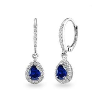 Sterling Sapphire Teardrop Leverback Earrings - Created Blue Sapphire - CB187UEI0DG