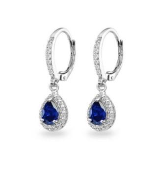 Sterling Sapphire Teardrop Leverback Earrings