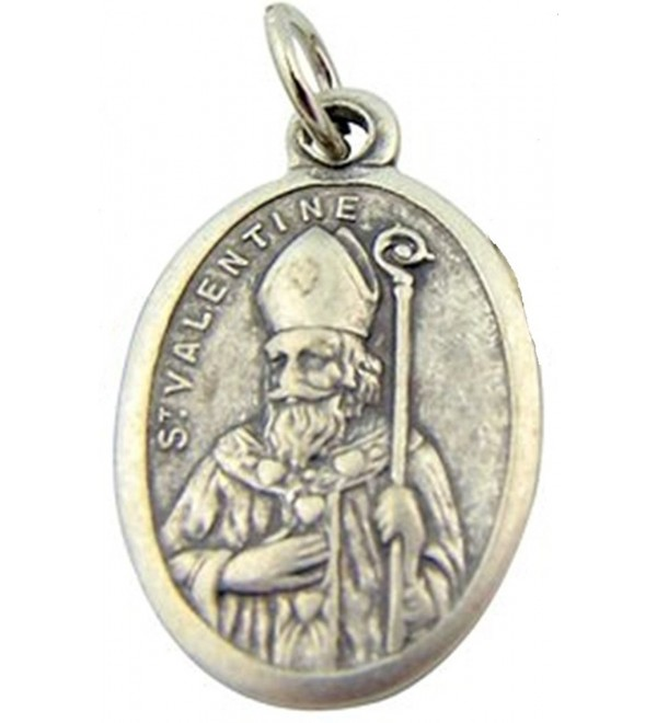 Silver Toned Base Patron Saint Valentine Pray for Us Medal- 1 Inch - C2117D3KJYB
