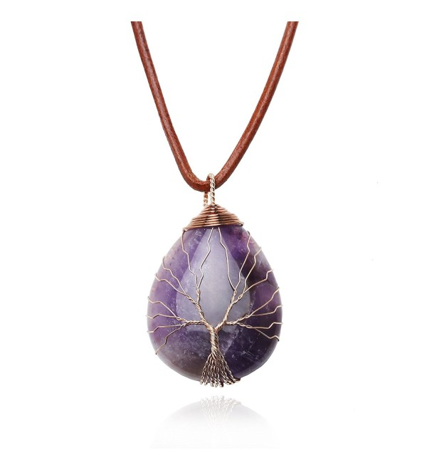 Teardrop Amethyst Pendant Necklace Handmade - Orange - CR187K6N5NZ