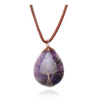 Teardrop Amethyst Pendant Necklace Handmade - Orange - CR187K6N5NZ