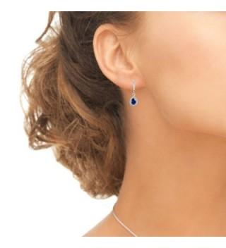 Sterling Sapphire Teardrop Leverback Earrings in Women's Drop & Dangle Earrings