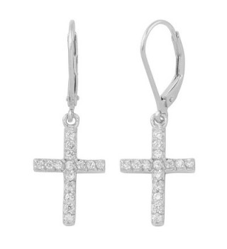 Sterling Silver And Cubic Zirconia Cross Dangle Earrings - C911OQBE31D