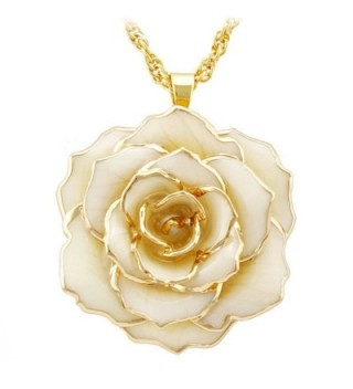 DEFAITH Golden Necklace Chain with 24K Gold Dipped Rose Necklace - Best Anniversary Gift - Ivory - CV12NZ5UDFH