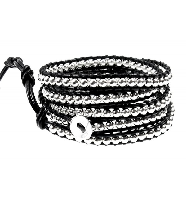 "39"" Rhiannon Black Leather Silvertone Bead Wrap Bracelet- Adjustable 5x Wrap in Gift Box - CN117GHAAMX"