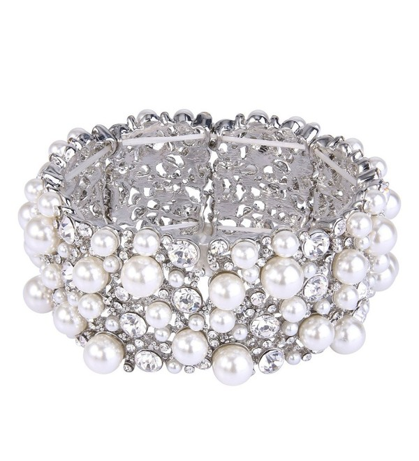 EVER FAITH Women's Austrian Crystal Cream Simulated Pearl Bridal Stretch Bracelet Clear Silver-Tone - CS12O013714