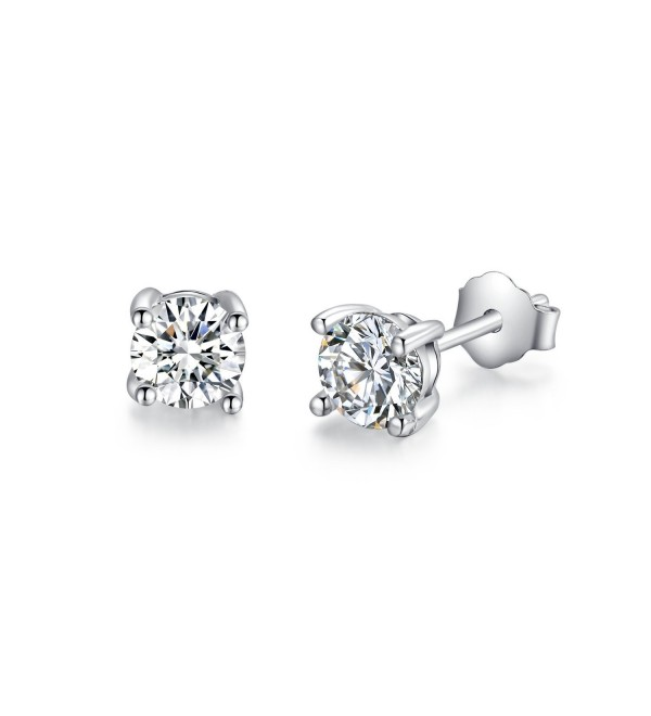 Sterling Silver Simulated Diamond Round CZ Stud Earrings 3mm (ERS03SVR) - CK11Q0XYANZ