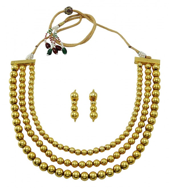 Banithani Indian Beautiful Traditional Goldtone Necklace Set Wedding Jewelry - Gold - CV12N9MPOF4