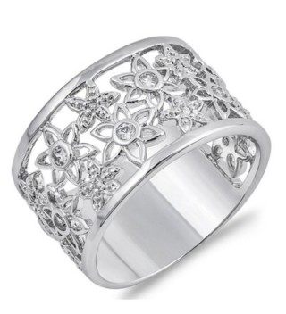 White CZ Filigree Flower Wide Sun Ring New .925 Sterling Silver Band Sizes 6-10 - CU187Z67RNL
