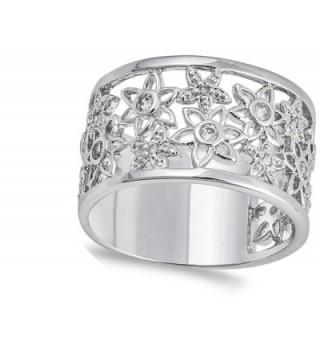 White Filigree Flower Sterling Silver