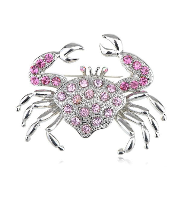 Alilang Silvery Tone Rhinestones Nautical Ocean Sea Crab Brooch Pin - Rose - C91138HOXG1