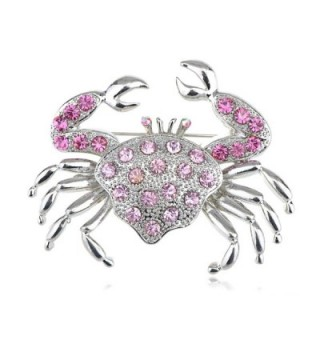 Alilang Silvery Tone Rhinestones Nautical Ocean Sea Crab Brooch Pin - Rose - C91138HOXG1