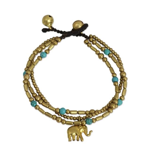 "NOVICA Blue Calcite Brass Beaded Bracelet- 7"" 'Thai Elephant Charm' - CO12E4PIID9"
