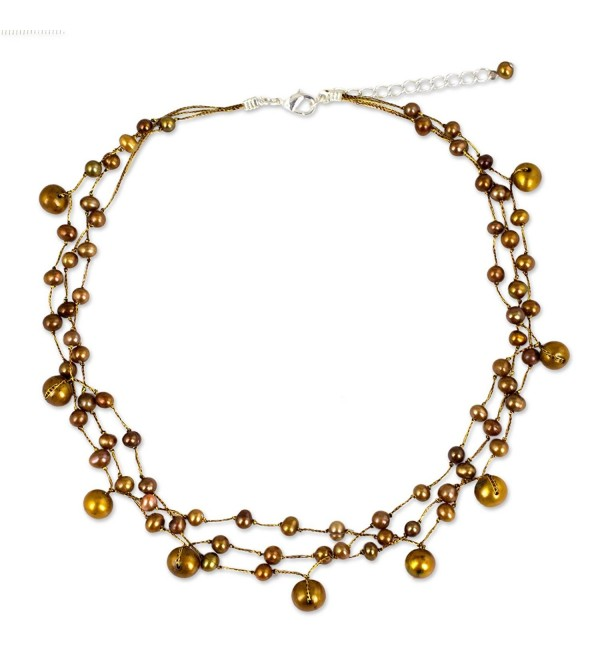 "NOVICA Dyed Brown Cultured Freshwater Pearl Stainless Steel Choker Necklace- 15""- 'Cinnamon Glow' - CD111AIC28Z"
