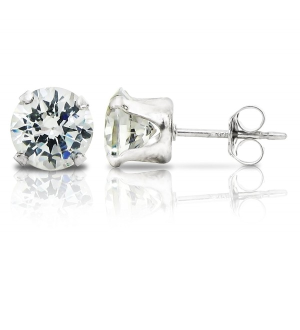 Sterling Silver 6mm Round Clear Cubic Zirconia Stud Earrings (1.5tcw) - C412O5SDXPG