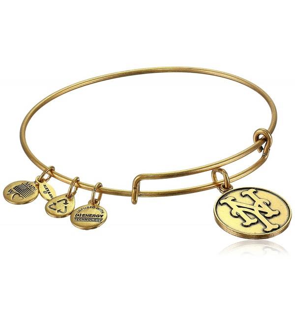 "Alex and Ani ""Major League Baseball"" Mets Cap Logo Rafaelian Gold-Tone Expandable Bangle Bracelet - CI118VNEHGX"