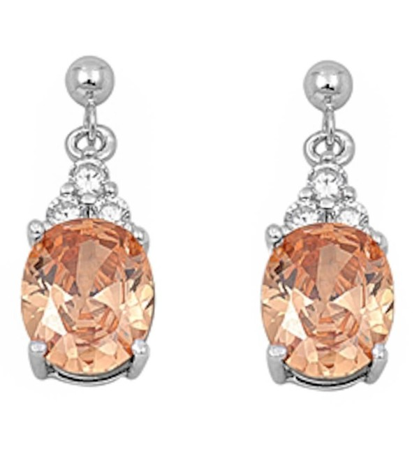 Sterling Silver Dangling Simulated Gemstone & Cubic Zirconia Earrings Birthstone Colors Available! - CB11I365LVD