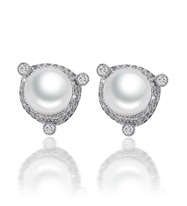 Caperci Cubic Zirconia CZ Halo Simulated Pearl Stud Earrings for Women - CV122P1L75F