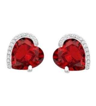 EleQueen 925 Sterling Silver Full Cubic Zirconia Forever Love Heart Bridal Stud Earrings Ruby Color - CJ12JKSUBFN